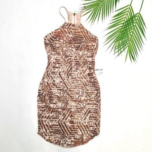 Papaya Sequin Rose Gold Bodycon Dress